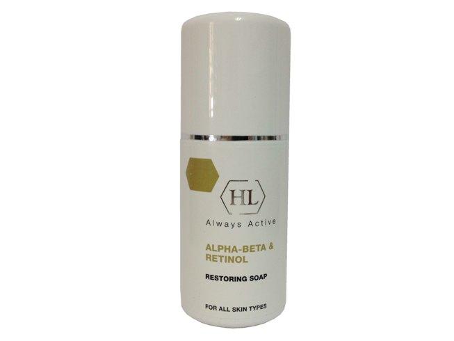Holy Land Восстанавливающее мыло с ретинолом Alpha-Beta & Retinol Restoring Soap, 125 мл4751006751927Питательное очищающее мыло. В составе мыла полезные альфа-кислоты, которые очищают кожу от омертвевших клеток кожи, выравнивает цвет лица, улучшает структуру кожного покрова. Не нарушает водный баланс кожи, укрепляет ее естественный барьер. Очищает поры, сужая их. Фруктовые кислоты помогают коже оставаться упругой и сияющей.