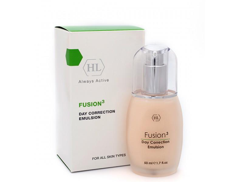 Holy Land Дневная эмульсия Fusion Day Correction Emulsion, 50 млFS-00897Дневной крем с очень легкой текстурой, которая позволяет использовать препарат для любого типа кожи. Активные ингредиенты стимулируют синтез коллагена и межклеточного вещества, укрепляют связи между клетками, поддерживают высокий уровень увлажненности, стабилизируют обменные процессы в коже и уменьшают глубину морщин, обладают успокаивающими и защитными свойствами. После нанесения кожа мгновенно становится гладкой и бархатистой.Активные компоненты: Экстракт зеленых водорослей, экстракт яблока, гексапептид, кальций, аминокислоты (серин, аргинин, пролин), гидролизованные растительные протеины, масло акай, масло зародышей пшеницы, облепиховое масло, ретинол. Экстракт зеленых водорослей укрепляет кожу и стенки капилляров.Масло зародышей пшеницы натуральный антиоксидант, богатый витамином Е. Замедляет старение кожи, стимулирует обменные процессы, улучшает эластичность кожи.Масло облепихи содержит уникальный комплекс витаминов, микроэлементов, аминокислот, органических кислот, липидов и других биологически активных веществ. Облепиха давно известна как противовоспалительное, ранозаживляющее, регенерирующее и витаминизирующее средство. Восстанавливает кожный покров после солнечных и радиационных ожогов, укрепляет защитные функции кожи. Смягчает сухую кожу, улучшает ее структуру. Прекрасное средство для ухода за увядающей кожей, эффективно против морщин и пигментных пятен, при угревой сыпи, дерматитах, кожных трещинах.