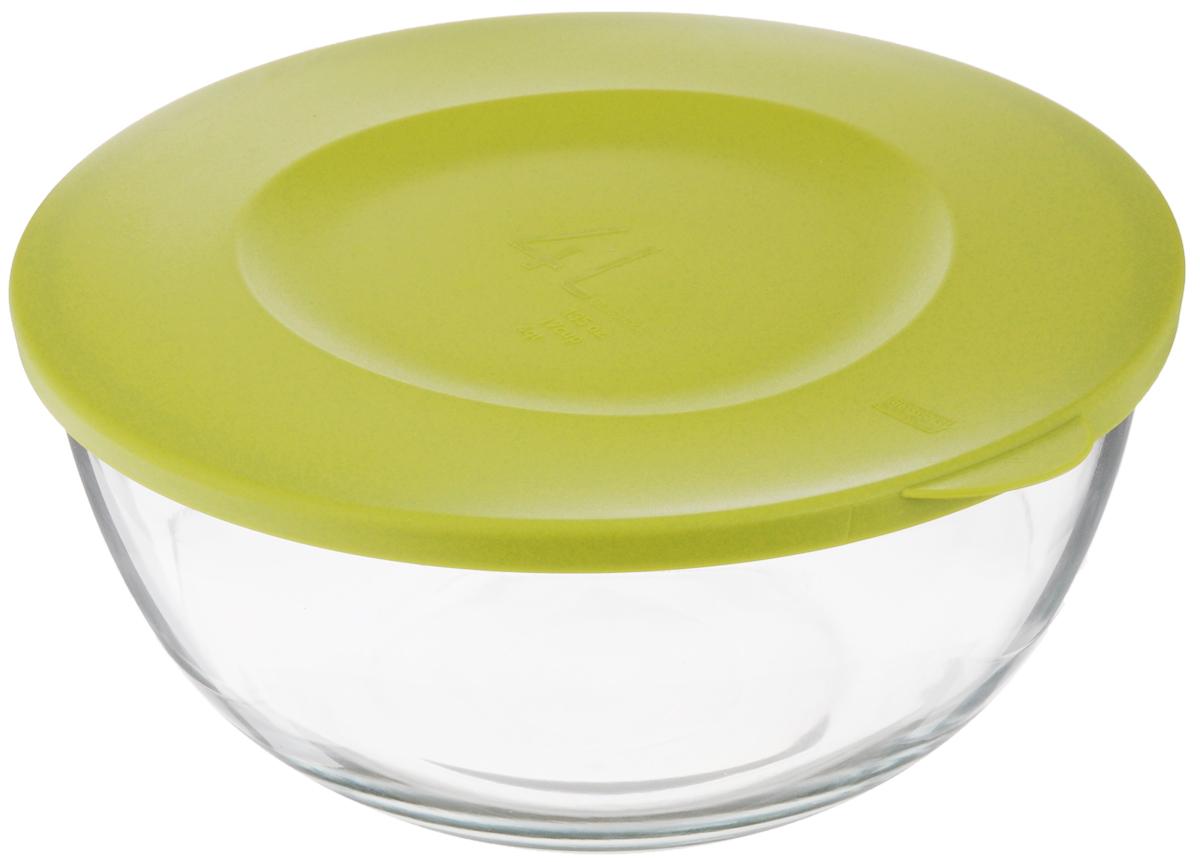 Чаша Glasslock, с крышкой, цвет: прозрачный, зеленый, 4 лВетерок-2 У_6 поддоновЧаша Glasslock выполнена из закаленного ударопрочного стекла. Изделие плотно и герметично закрывается пластиковой крышкой, что позволяет продуктам дольше оставаться свежими, сохранять аромат и вкус. Благодаря прозрачным стенкам, можно видеть содержимое. Такая чаша подходит для повседневного использования. Она идеальна для овсяных хлопьев, фруктов, риса и многого другого. Также в ней можно приготовить салаты. Приятный дизайн подойдет практически для любого случая.Можно мыть в посудомоечной машине, использовать в СВЧ-печах. Подходит для хранения пищи в холодильнике и морозильнике. Не использовать в духовке.Размер чаши (с учетом крышки): 28 х 26,5 х 12,5 см.