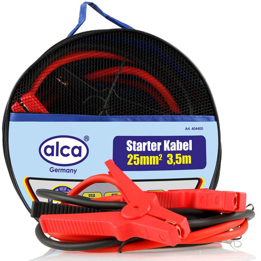 Провода вспомогательного запуска Alca, 400 А, 3 мУТ000010361Провода вспомогательного запуска Alca необходимы в экстренных ситуациях, когда АКБ транспортного средства находится в разряженном состоянии, зарядно-пусковое устройство недоступно и запускать двигатель за счет буксировки нельзя.Алюминиевый провод с медным покрытием, полностью изолированные зажимы. Морозостойкий и эластичный. Провода вспомогательного запуска применяются для запуска двигателей легковых и грузовых автомобилей. Подсоединяются к одноименным клеммам аккумулятора. Длина: 3 м. Сила тока: 400 А.