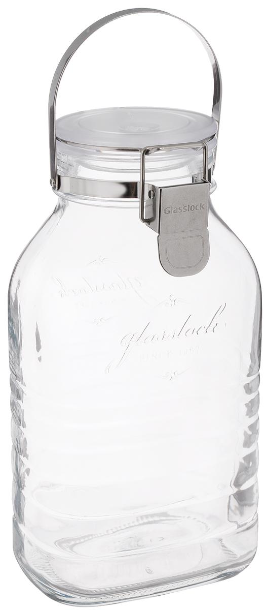 Банка Glasslock, цвет: прозрачный, белый, 2 лFA-5125 WhiteГерметичная банка Glasslock изготовлена из прочного утолщенного стекла. Изделие оснащено металлической ручкой и герметичной крышкой, закрывающейся при помощи металлической клипсы. Благодаря этому продукты внутри банки дольше остаются свежими. Банка прекрасно подходит для хранения солений, ягод, варенья. Банка Glasslock станет незаменимым аксессуаром на любой кухне. Можно мыть в посудомоечной машине и хранить в холодильнике.Диаметр банки (по верхнему краю): 8 см.Размер основания: 12 х 8,5 см.Высота банки (с учетом крышки): 26 см.