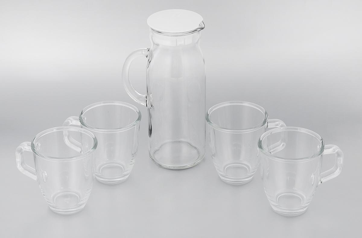 Набор питьевой Glasslock, цвет: прозрачный, 5 предметовIG-667Питьевой набор Glasslock состоит из кувшина с пластиковой крышкой и 4 кружек. Предметы набора изготовлены из высококачественного прозрачного стекла. Питьевой набор подойдет для подачи сока, воды, лимонада и других напитков. Практичный набор Glasslock прекрасно впишется в интерьер любой кухни.Объем кувшина: 1,2 л.Высота кувшина: 23,5 см.Диаметр кувшина по верхнему краю: 8 см.Объем кружки: 375 мл.Высота кружки: 10,5 см.Диаметр кружки по верхнему краю: 9 см.