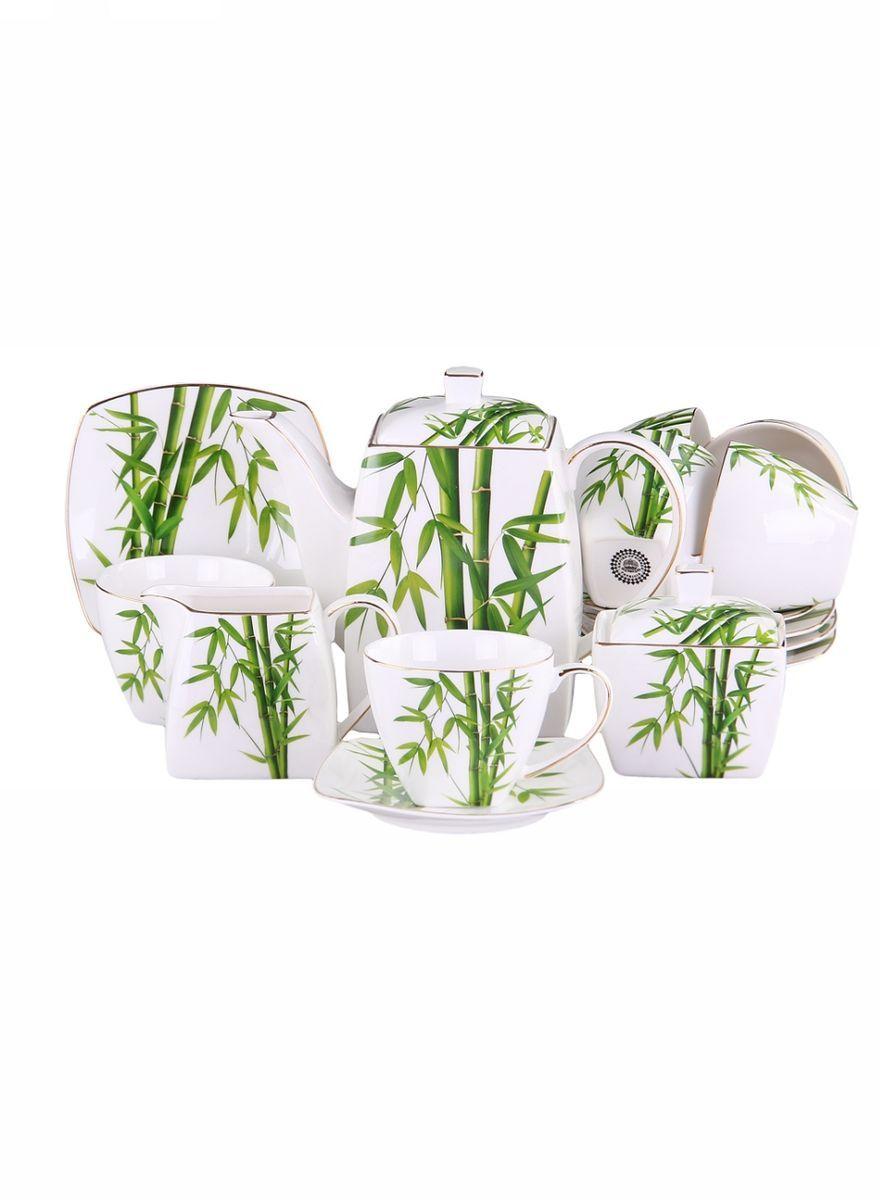 Набор чайный 15 предметов 250 мл PATRICIA115510Чайный набор включает в себя 15 предметов: 6 чашек (220мл.),6 блюдец, заварочный чайник (500 мл.), молочник и сахарницу. Изделия выполнены из фарфора безупречной белизны. Все элементы набора украшены цветочным декором в виде стеблей бамбука, некоторые части изделий дополнительно декорированы позолотой. Набор имеет подарочную упаковку. Внимание! Изделия нельзя использовать в посудомоечной машине.