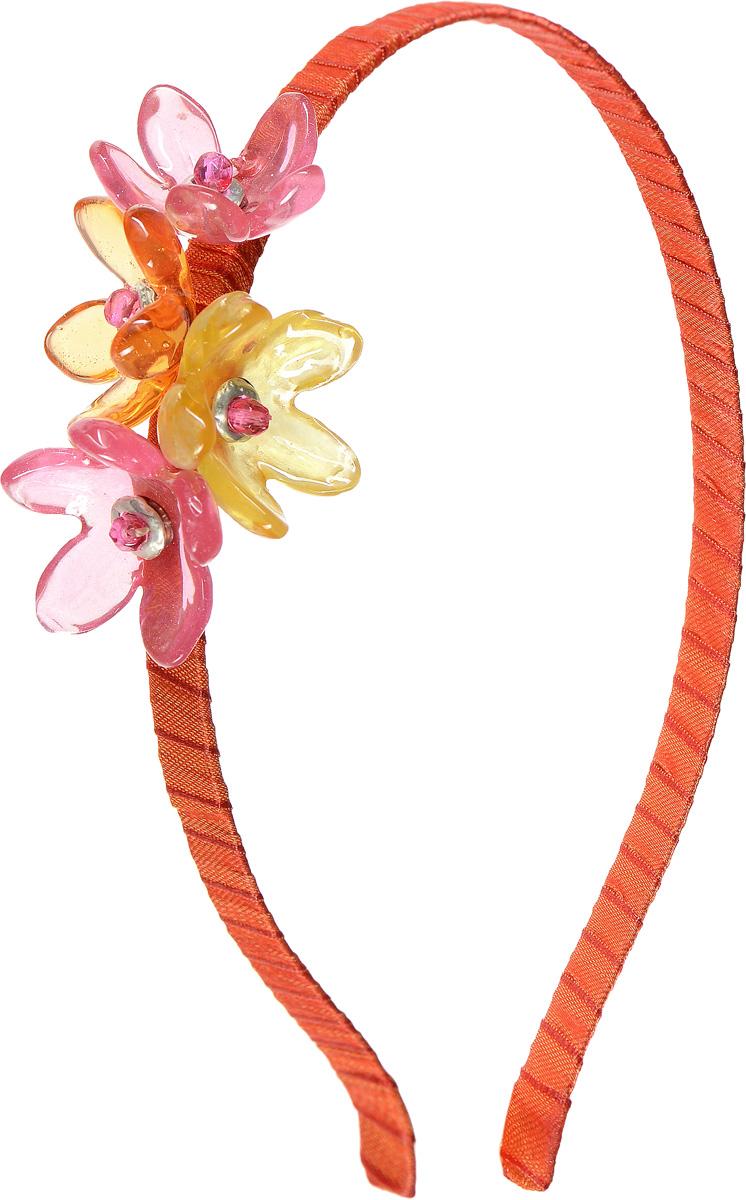 Ободок для волос Lalo Treasures, цвет: оранжевый. HR4583Серьги с подвескамиЯркий дизайнерский ободок для волос Lalo Treasures станет отличным дополнением к вашему стилю. Ободок изготовлен изкачественной ювелирной смолы, металлического сплава и текстиля. Декоративная часть ободка изготовлена в виде нескольких цветков разного цвета.Ободок очень удобен при ношении, благодаря мягкому текстильному покрытию.Оригинальный дизайн позволит вашему образу быть ещё ярче.