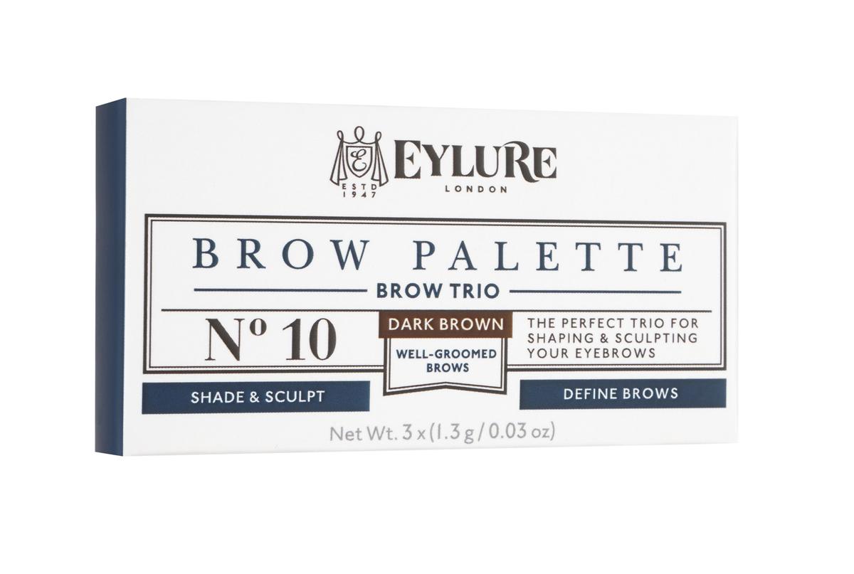 Eylure Палетка для моделирования бровей 10 Brow Palette - Темно-коричневая 3*3 гр232506Набор для моделирования бровей для создания формы, цвета и выразительности.В составе теней витамины A и C, антиоксидант витамин E и силиконовый флюид, которые придают гладкость при нанесении. Воск придает устойчивость и водостойкий эффект, а розмарин и масло сладкого миндаля в составе воска увлажняют и ухаживают за бровями. Моделирование: зафиксируйте форму бровей с помощью воскаЦвет: с помощью интенсивно пигментированных тенейВыделение: подчеркните брови с помощью хайлайтераВ комплекте: Тени для бровей, моделирующий воск, хайлайтер и аппликатор. Объем: 3 Х 3 г