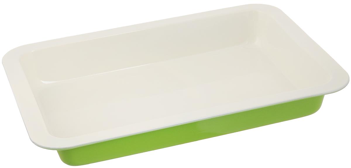 Противень Mayer & Boch Unico, с керамическим покрытием, прямоугольный, цвет: молочный, салатовый, 38 х 27 см22250Противень Mayer & Boch Unico выполнен из высококачественной углеродистой стали и снабжен антипригарным керамическим покрытием, что обеспечивает прочность и долговечность. Противень равномерно и быстро прогревается, что способствует лучшему пропеканию пищи. Его легко чистить. Готовая выпечка без труда извлекается. Простой в уходе и долговечный в использовании противень Mayer & Boch Unico станет верным помощником в создании ваших кулинарных шедевров. Не рекомендуется мыть в посудомоечной машине. Противень подходит для использования в духовке с максимальной температурой 250°С. Перед каждым использованием противень необходимо смазать небольшим количеством масла. Внешний размер противня: 38 х 27 см. Внутренний размер противня: 33 х 22,5 см. Высота стенки: 5 см.