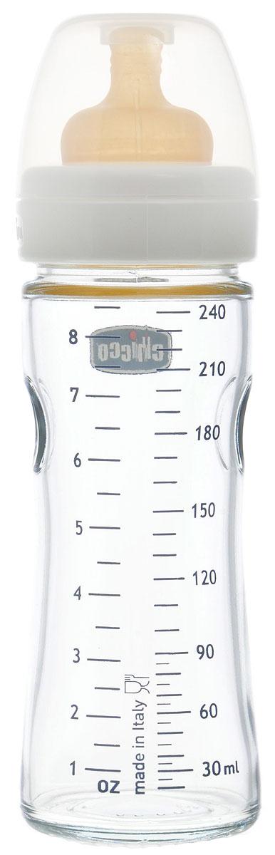 Chicco Бутылочка для кормления с латексной соской Well-Being Glass от 0 месяцев 240 мл