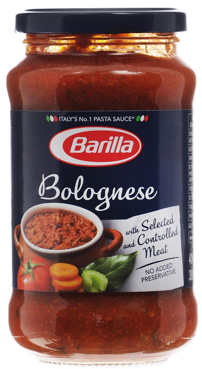 Barilla Sugo Bolognese соус болоньезе, 400 г0120710Густой, ароматный, невероятно вкусный и сытный соус Болоньезе - классика итальянской кухни. Секрет этого соуса в терпении и мудрости хозяйки. По традиции он должен долго томиться на самом тихом огне, чтобы мясной фарш впитал все ароматы пряных трав и овощей, стал нежным и буквально таял во рту. Соус Болоньезе составит полноценный обед или ужин в сочетании с любой пастой.Соус Болоньезе Barilla приготовлен по классическому итальянскому рецепту из высококачественных натуральных ингредиентов. Разогрейте соус в сковороде и смешайте с только что отваренной пастой. Может применяться в качестве основного соуса к пасте или как дополнение к блюдам из мяса, рыбы и овощей.