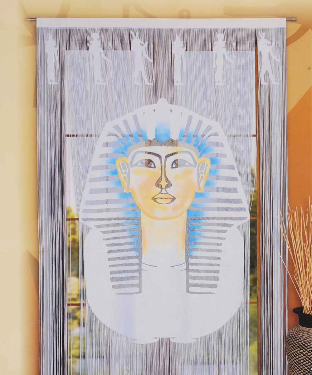 Гардина-панно Wisan Faraon, цвет: белый, на кулиске, высота 240 см956251325Нитяная гардина-панно Wisan Faraon белого цвета с цветным рисунком египетского фараона, изготовленная из полиэстера, станет великолепным украшением любого окна. Оригинальное оформление гардины внесет разнообразие и подарит заряд положительного настроения.Верхняя часть гардины крепится на кулиску или зажимы для штор.