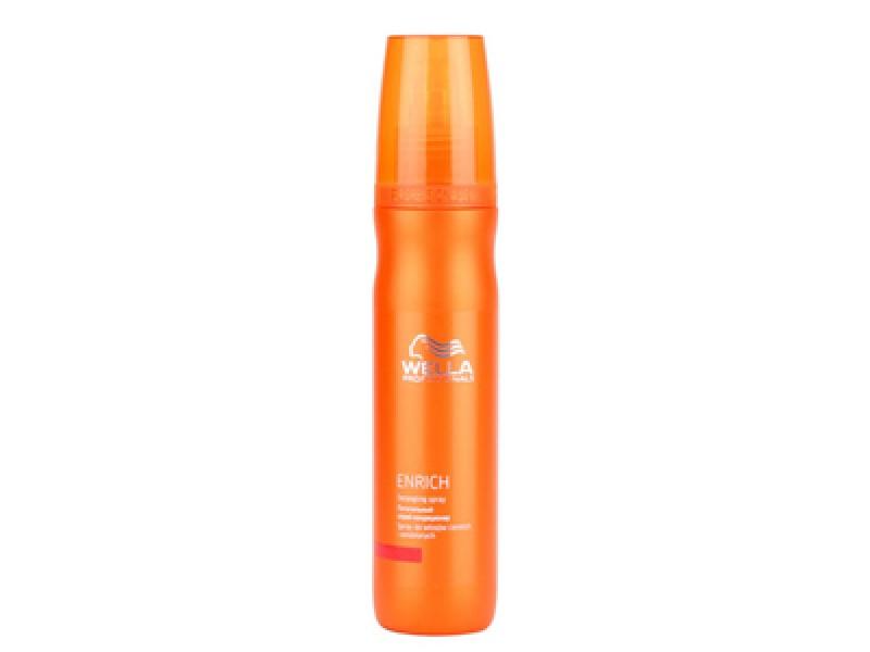 Wella Питательный спрей-кондиционер Enrich Line, 150 млjf311220Питательный спрей-кондиционер это отличное средство для увлажнения волос, для нормализации работы волосяных фолликул.Спрей не просто восстанавливает поврежденную структуру волос, он еще и тонизирует волосы. Особенно эффективным он оказывается для ослабленных, тонких волос. Кроме того, средство оказывает укрепляющее действие, оно обладает теплозащитным эффектом, увлажняет ваши локоны, насыщает их полезными веществами. Спрей-кондиционер содержит экстракт шелка и пантенол и считается подходящей основой для легкого стайлинга.Спрей от Wella придает волосам мягкость шелка. В результате волосы легко расчесываются и укладываются.Также в средство входят витамин Е, глиоксиловая кислота, эксклюзивная салонная формула.