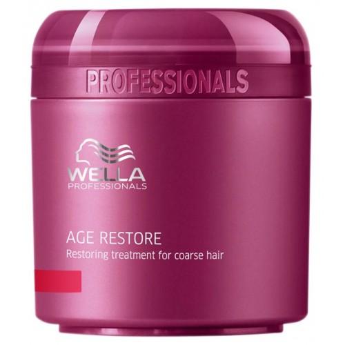 Wella Восстанавливающая маска Age Line для жестких волос, 150 млFS-00897Восстанавливающая маска от Wella предназначена для жестких волос, она обладает легкой текстурой, хорошо наносится и распределяется по волосам. Средство позволяет решить основные проблемы жестких волос: обеспечивает объем при укладке, делает волосы мягкими, придает им блеск, шелковистость, облегчает расчесывание.Маска возвращает волосам силу, восстанавливает их.В ее составе можно обнаружить такие компоненты, как экстракт ройбуша, масло карите, пантенол, кератин, фитокератин, витамин Е, глиоксиновая кислота.