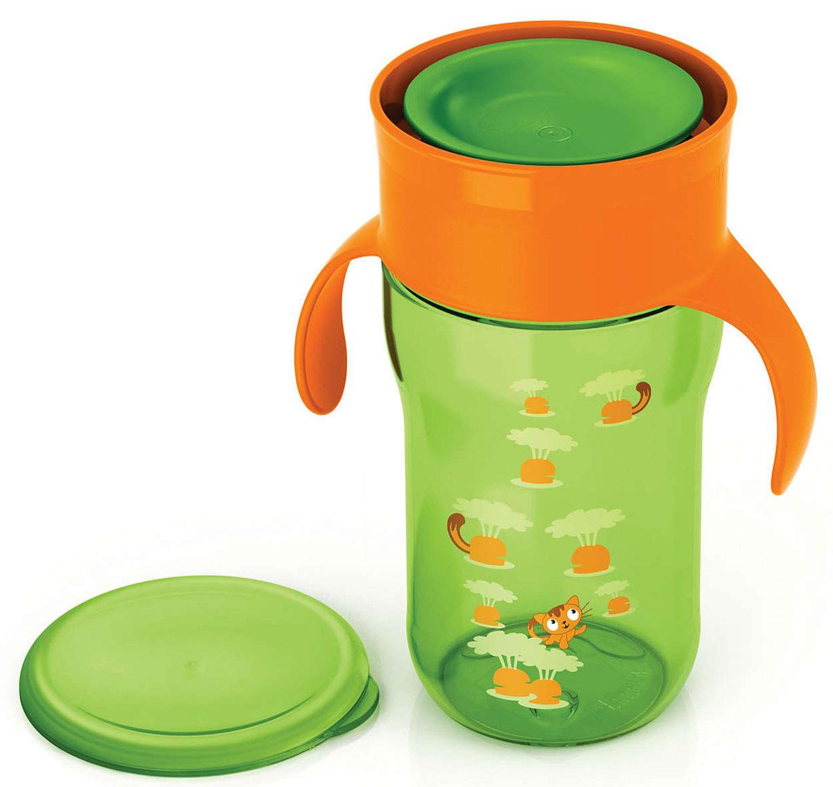 """Чашка-поильник """"Philips Avent"""" выполнена из безопасного материала (не содержит бисфенол А) и оформлена забавными изображениями. С помощью этой чашки без носика и трубочки вы сможете легко научить ребенка пользоваться обычной чашкой: малыш может пить по всему краю, как из обычной чашки для взрослых. Уникальный инновационный клапан, который открывается от прикосновения губ и обеспечивает быстрый поток, разработан экспертами Philips Avent специально для того, чтобы научить вашего малыша пить из обычной чашки. Клапан с быстрым потоком позволяет малышу пить, не прилагая лишних усилий, не всасывая жидкость. Дома или на прогулке, защитная гигиеничная крышка всегда сохраняет чашку в чистоте. Обучающие ручки приучают малыша держать чашку и пить без посторонней помощи."""