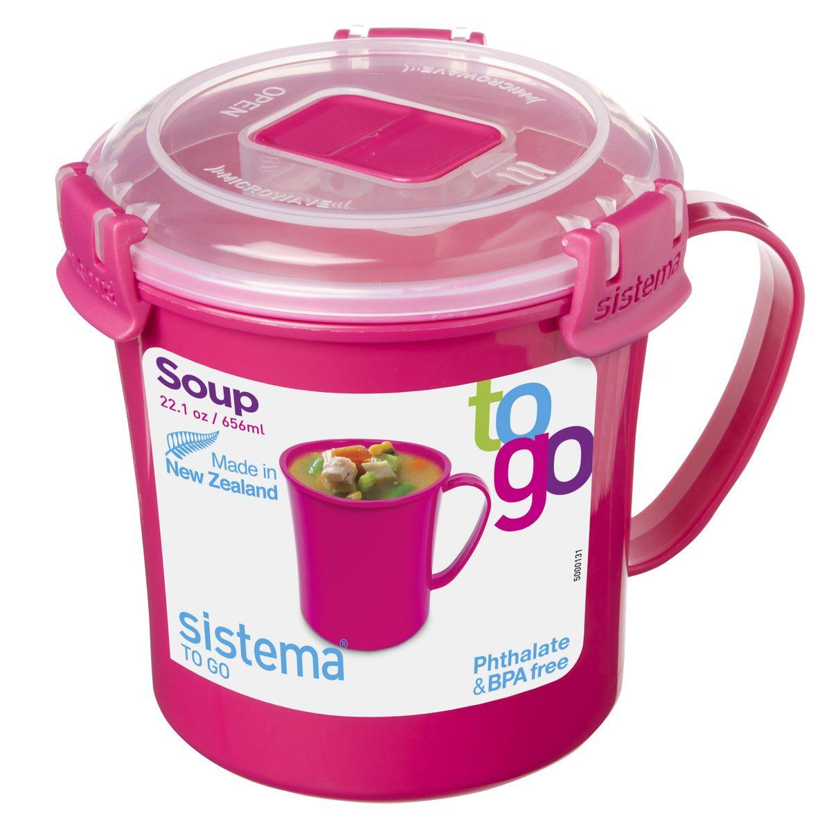 Кружка суповая Sistema TO-GO, цвет: малиновый, 656 мл1С0111Кружка суповая Sistema TO-GO создана для людей, ведущих активный образ жизни. Кружка с надежной защитой от протечек позволит взять с собой горячий суп на пикник, в офис или в поездку. На крышке имеется силиконовая прокладка, которая способствует герметичному закрыванию. Контейнер надежно закрывается клипсами, которые при необходимости можно заменить.Можно мыть в посудомоечной машине.
