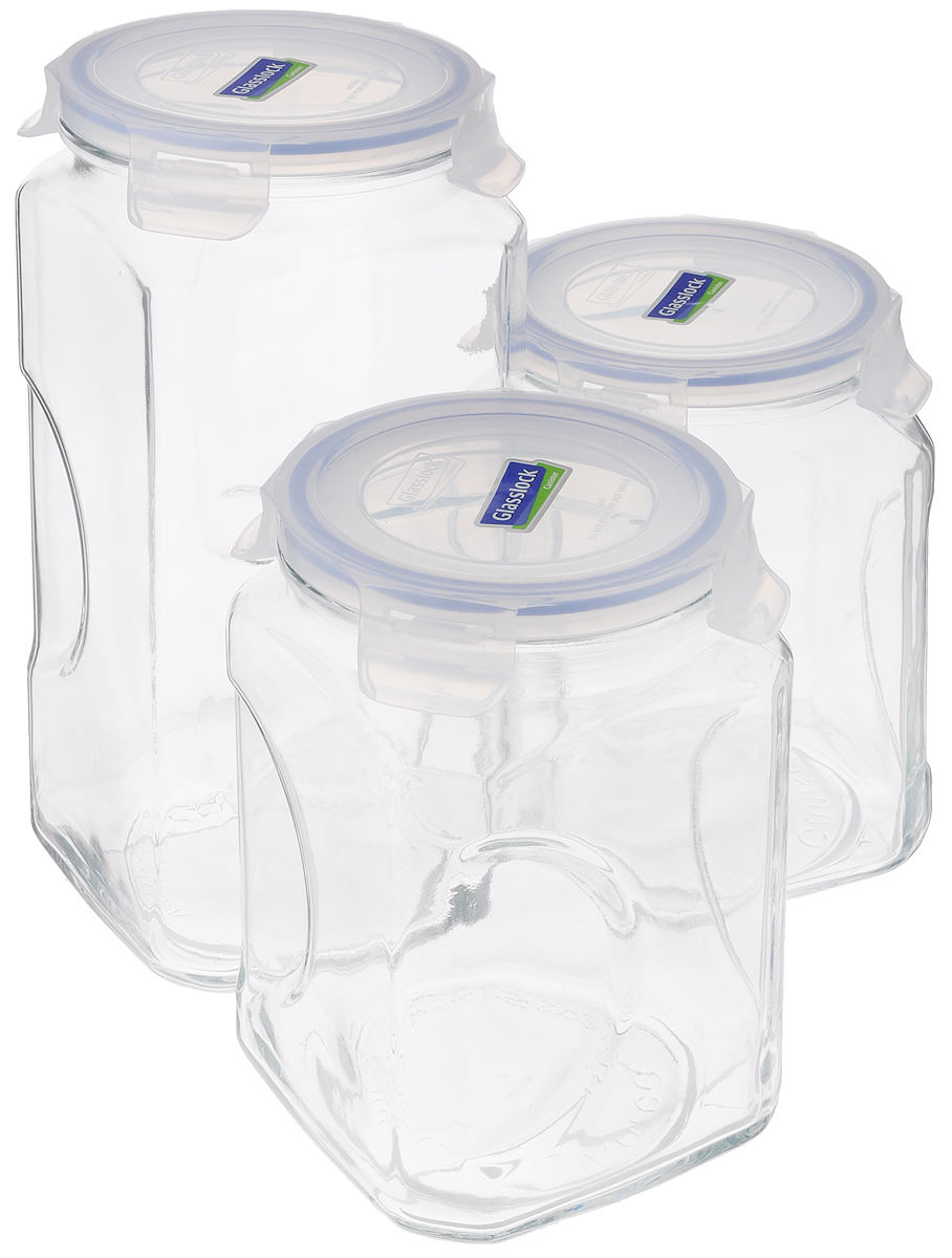 Набор контейнеров для сыпучих продуктов Glasslock, цвет: прозрачный, синий, 3 предмета894820Набор для сыпучих продуктов Glasslock включает в себя 3 контейнера разного объема. Изделия изготовлены из высококачественного закаленного ударопрочного стекла и оснащены плотно закрывающимися пластиковыми крышками с 4 защелками. Благодаря уплотнительной резинке, крышки герметичны. Контейнеры прекрасно подходят для хранения чая, кофе, сахара, специй, орехов , солений и других продуктов.Можно мыть в посудомоечной машине.Объем контейнеров: 2 л, 3 л.Диаметр контейнеров по верхнему краю: 11,5 см.Высота контейнеров (с учетом крышки): 19 см; 27 см.