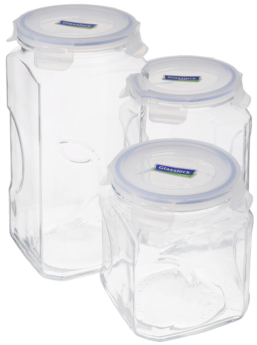Набор контейнеров для сыпучих продуктов Glasslock, цвет: прозрачный, синий, 3 предмета. IG-535VT-1520(SR)Набор для сыпучих продуктов Glasslock включает в себя 3 контейнера разного объема. Изделия изготовлены из высококачественного закаленного ударопрочного стекла и оснащены плотно закрывающимися пластиковыми крышками с 4 защелками. Благодаря уплотнительной резинке, крышки герметичны. Контейнеры прекрасно подходят для хранения чая, кофе, сахара, специй, орехов , солений и других продуктов.Можно мыть в посудомоечной машине.Объем контейнеров: 1,5 л; 2 л; 3 л.Диаметр контейнеров по верхнему краю: 11,5 см.Высота контейнеров (с учетом крышки): 15,5 см; 19 см; 27 см.