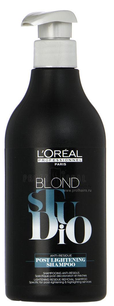 LOreal Professionnel Шампунь после обесцвечивания Post Lightening Shampoo, 500 млFS-00897Oreal Professionnel Post Lightening Shampo Шампунь после обесцвечивания имеет специальный состав, который прекращает процесс осветления волос и смягчает их. Эффективно удаляет все остатки окислителя и способствует идеальной равномерности последующего окрашивания волос.