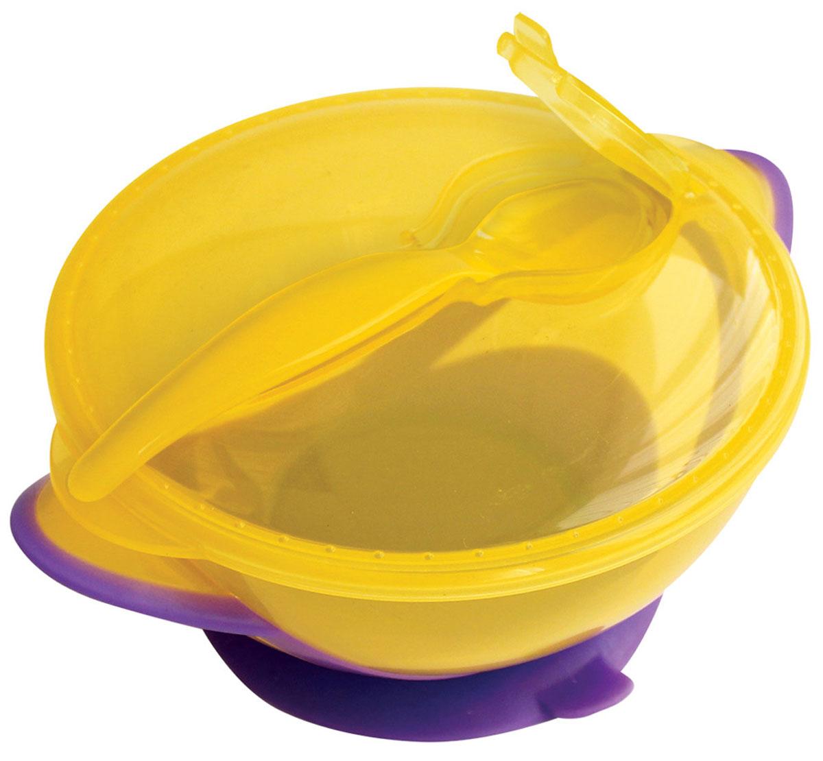 Lubby Тарелка детская Классика с ложкой цвет фиолетовый желтыйVT-1520(SR)Тарелка для кормления Lubby Классика с ложкой незаменима в период, когда ваш малыш учится кушать самостоятельно.Специальная форма крышки позволяет сохранять гигиеничность прибора для кормления во время путешествий. Присоска препятствует свободному перемещению тарелки по столу. Яркий дизайн тарелки превращает процесс кормления в увлекательную игру.Можно мыть в посудомоечной машине.Не содержит бисфенол А.Не рекомендовано использовать тарелку для разогрева пищи в микроволновой печи.