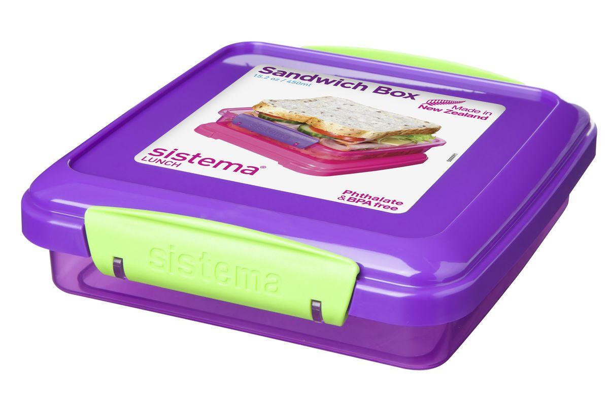 Контейнер для сэндвичей Sistema, цвет: фиолетовый , 450 мл31646_фиолетовый