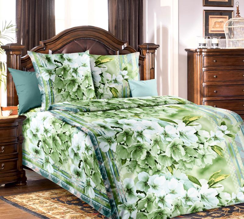 Комплект постельного белья 1,5 спальное Свежесть 1 зел.1,5/150 арт.1100АCA-3505Для производства постельного белья используются экологичные ткани высочайшего качества:Бязь - хлопчатобумажная плотная ткань полотняного переплетения. Отличается прочностью и стойкостью к многочисленным стиркам. Бязь считается одной из наиболее подходящих тканей, для производства постельного белья и пользуется в России большим спросом.