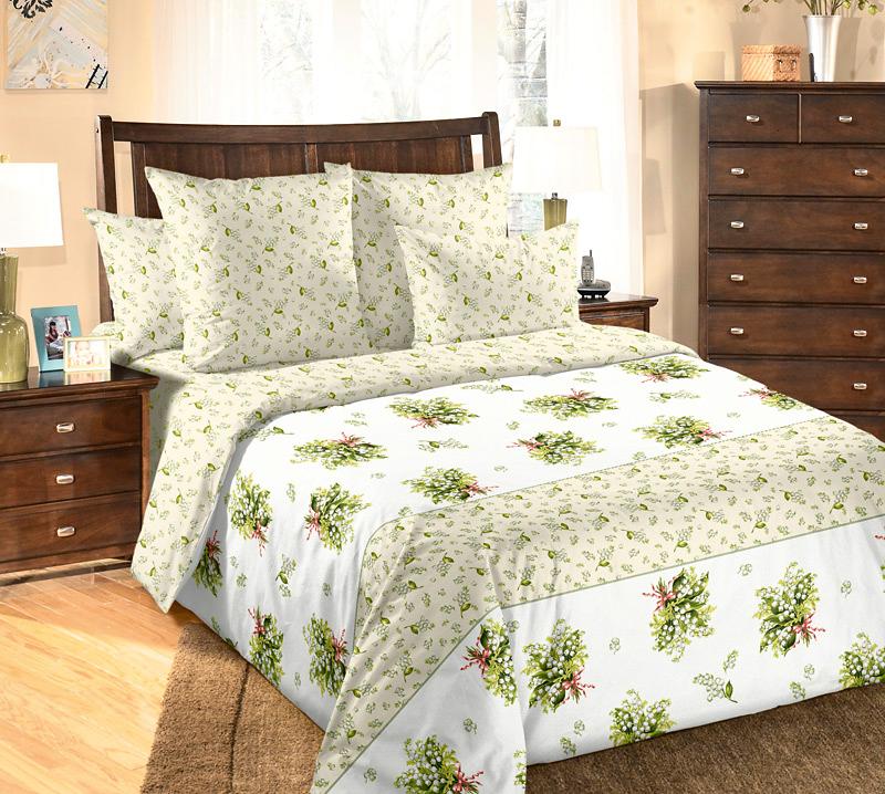 Комплект белья Текс-Дизайн Ландыши, евро наволочки 70x70FA-5125 WhiteВеликолепное постельное белье Текс-Дизайн Ландыши из высококачественной бязи (100% хлопок) состоит из пододеяльника, простыни и двух наволочек. Бязь - хлопчатобумажная плотная ткань полотняного переплетения. Отличается прочностью и стойкостью к многочисленным стиркам. Бязь считается одной из наиболее подходящих тканей, для производства постельного белья и пользуется в России большим спросом.
