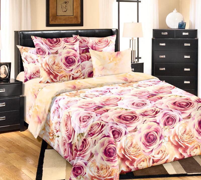 Комплект белья Текс-Дизайн Романс, евро 1, наволочки 70х70391602Великолепное постельное белье Текс-Дизайн Романс выполнено из высококачественного перкаля (100% хлопок) и украшено роскошным цветочным рисунком. Комплект состоит из пододеяльника, простыни и двух наволочек. Перкаль - это тонкая и легкая хлопчатобумажная ткань высокой плотности полотняного переплетения, сотканная из пряжи высоких номеров. При изготовлении перкаля используются длинноволокнистые сорта хлопка, что обеспечивает высокие потребительские свойства материала. Несмотря на свою утонченность, перкаль очень практичен - это одна из самых износостойких тканей для постельного белья.