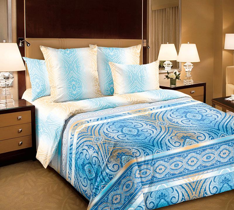Комплект белья Текс-Дизайн Фантазия 1, евро, наволочки 70х70, цвет: белый, голубой, бежевый391602Великолепное постельное белье Текс-Дизайн Фантазия 1 выполнено из высококачественного перкаля (100% хлопок) и украшено изящным, эксклюзивным рисунком. Комплект состоит из пододеяльника, простыни и двух наволочек. Перкаль - это тонкая и легкая хлопчатобумажная ткань высокой плотности полотняного переплетения, сотканная из пряжи высоких номеров. При изготовлении перкаля используются длинноволокнистые сорта хлопка, что обеспечивает высокие потребительские свойства материала. Несмотря на свою утонченность, перкаль очень практичен - это одна из самых износостойких тканей для постельного белья.