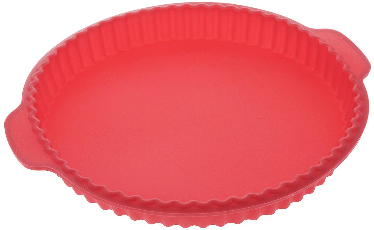 Форма для выпечки Calve, силиконовая, круглая, цвет: красный, 31,2 x 28 x 3,5 смГ0400ДФорма для выпечки Calve, изготовленная из высококачественного силикона, выдерживающего температуру от -40°C до +230°C. Если вы любите побаловать своих домашних вкусным и ароматным угощением по вашему оригинальному рецепту, то форма Calve как раз то, что вам нужно!Можно использовать в духовом шкафу и микроволновой печи без использования режима гриль.Подходит для морозильной камеры и мытья в посудомоечной машине.Размер формы с учетом ручек: 31,2 x 28 см.Внутренний диаметр формы: 26 см.Высота формы: 3,5 см.