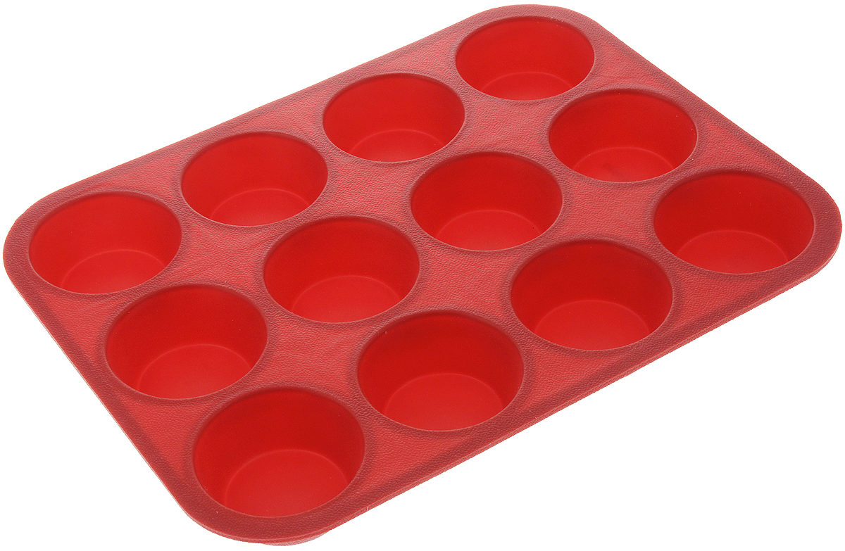 Форма для выпечки Tescoma Delicia Silicone, цвет: красный, 12 ячеек. 629350 форма для орешков delicia silicone 629353