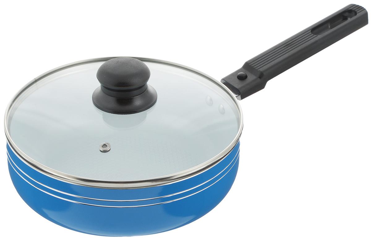 Сковорода-сотейник Добрыня с крышкой, с керамическим покрытием, со съемной ручкой, цвет: синий. Диаметр 20 см. DO-500954 009312Сковорода-сотейник Добрыня изготовлена из алюминия с керамическим покрытием. Керамика не содержит вредных примесей ПФОК, что способствует здоровому и экологичному приготовлению пищи. Кроме того, с таким покрытием пища не пригорает и не прилипает к стенкам, поэтому можно готовить с минимальным добавлением масла и жиров. Внутреннее керамическое покрытие обладает антипригарными свойствами и не выделяет вредных веществ.Пластиковая съемная ручка специального дизайна удобно лежит в руке. Сковорода оснащена стеклянной крышкой с отверстием для выхода пара.Подходит для использования на газовых, электрических, стеклокерамических плитах. Не подходит для индукционных. Можно мыть в посудомоечной машине.Диаметр: 20 см.Высота стенки: 6,5 см.Длина ручки: 16,5 см.