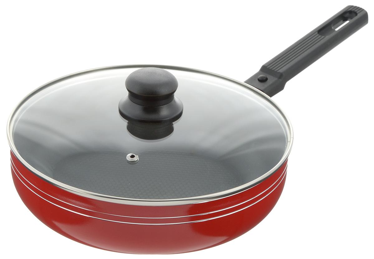 Сковорода-сотейник Добрыня с крышкой, с антипригарным покрытием, со съемной ручкой, цвет: красный. Диаметр 24 см. DO-502454 009312Сковорода-сотейник Добрыня изготовлена из алюминия с антипригарным покрытием. Оно не содержит вредных примесей ПФОК, что способствует здоровому и экологичному приготовлению пищи. Кроме того, с таким покрытием пища не пригорает и не прилипает к стенкам, поэтому можно готовить с минимальным добавлением масла и жиров. Внутреннее покрытие обладает антипригарными свойствами и не выделяет вредных веществ.Пластиковая съемная ручка специального дизайна удобно лежит в руке. Сковорода оснащена стеклянной крышкой с отверстием для выхода пара.Подходит для использования на газовых, электрических, стеклокерамических плитах. Не подходит для индукционных. Можно мыть в посудомоечной машине.Диаметр: 24 см.Высота стенки: 6,5 см.Длина ручки: 17 см.