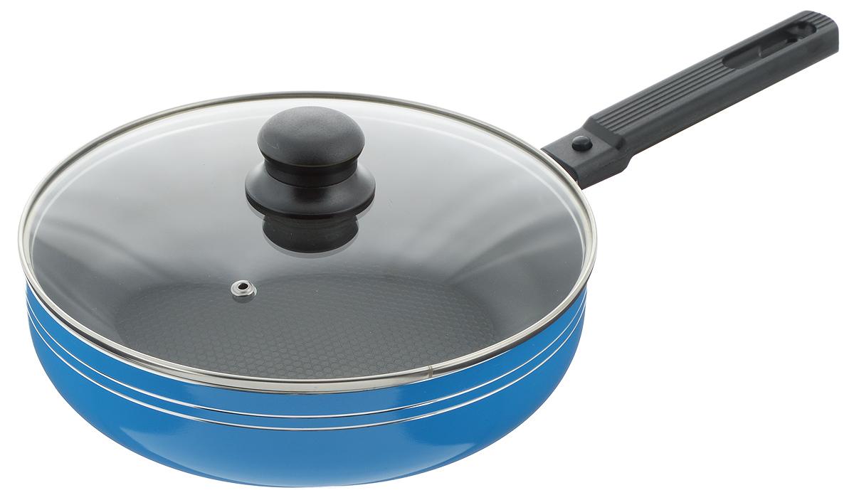 Сковорода-сотейник Добрыня с крышкой, с антипригарным покрытием, со съемной ручкой, цвет: голубой. Диаметр 24 см. DO-502454 009312Сковорода-сотейник Добрыня изготовлена из алюминия с антипригарным покрытием. Оно не содержит вредных примесей ПФОК, что способствует здоровому и экологичному приготовлению пищи. Кроме того, с таким покрытием пища не пригорает и не прилипает к стенкам, поэтому можно готовить с минимальным добавлением масла и жиров. Внутреннее покрытие обладает антипригарными свойствами и не выделяет вредных веществ.Пластиковая съемная ручка специального дизайна удобно лежит в руке. Сковорода оснащена стеклянной крышкой с отверстием для выхода пара.Подходит для использования на газовых, электрических, стеклокерамических плитах. Не подходит для индукционных. Можно мыть в посудомоечной машине.Диаметр: 24 см.Высота стенки: 6,5 см.Длина ручки: 17 см.
