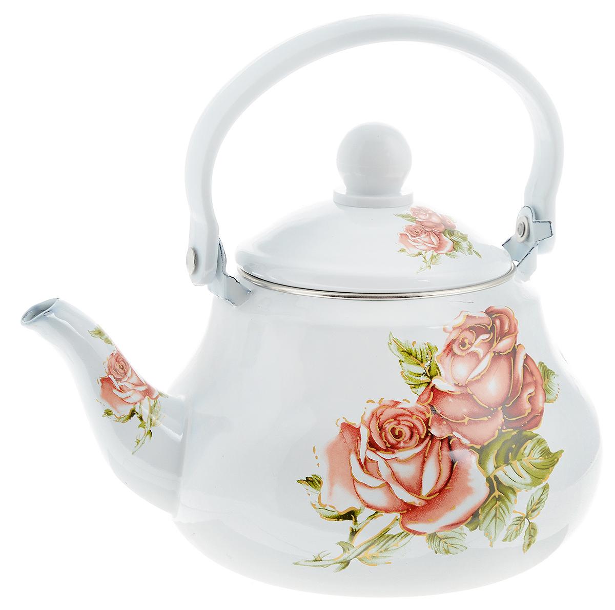 Чайник заварочный Mayer & Boch Яркие розы, 1,5 л115510Заварочный чайник Mayer & Boch Яркие розы изготовлен из высококачественной углеродистой стали с эмалированным покрытием. Такое покрытие защищает сталь от коррозии, придает посуде гладкую стекловидную поверхность и надежно защищает от кислот и щелочей. Изделие прекрасно подходит для заваривания вкусного и ароматного чая, травяных настоев. Чайник оснащен сетчатым фильтром, который задерживает чаинки и предотвращает их попадание в чашку. Оригинальный дизайн сделает чайник настоящим украшением стола. Он удобен в использовании и понравится каждому. Подходит для использования на газовых, стеклокерамических, электрических, галогеновых и индукционных плитах. Можно мыть в посудомоечной машине. Диаметр чайника (по верхнему краю): 9,5 см. Высота чайника (без учета крышки): 11 см.Толщина стенок: 8 мм.