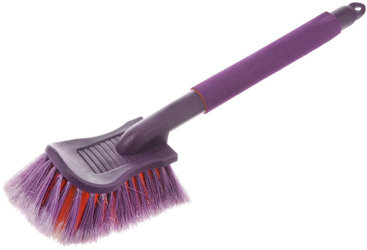 Щетка для мойки автомобиля Zipower, нецарапающая, цвет: фиолетовый, оранжевый, длина 43 смDW90Щетка Zipower изготовлена из высококачественного пластика и оснащена эргономичной рукояткой с накладкой из пенополиэтилена для защиты рук от мороза. Изделие обеспечивает безопасное удаление загрязнений и не оставляет царапин. Распушенные кончики щетины придают дополнительный объем и увеличивают рабочую поверхность, бережно воздействуя на лакокрасочное покрытие, стекла и другие элементы автомобиля. Длина щетки: 43 см. Размер рабочей поверхности: 19 х 10 см. Длина щетины: 6 см.