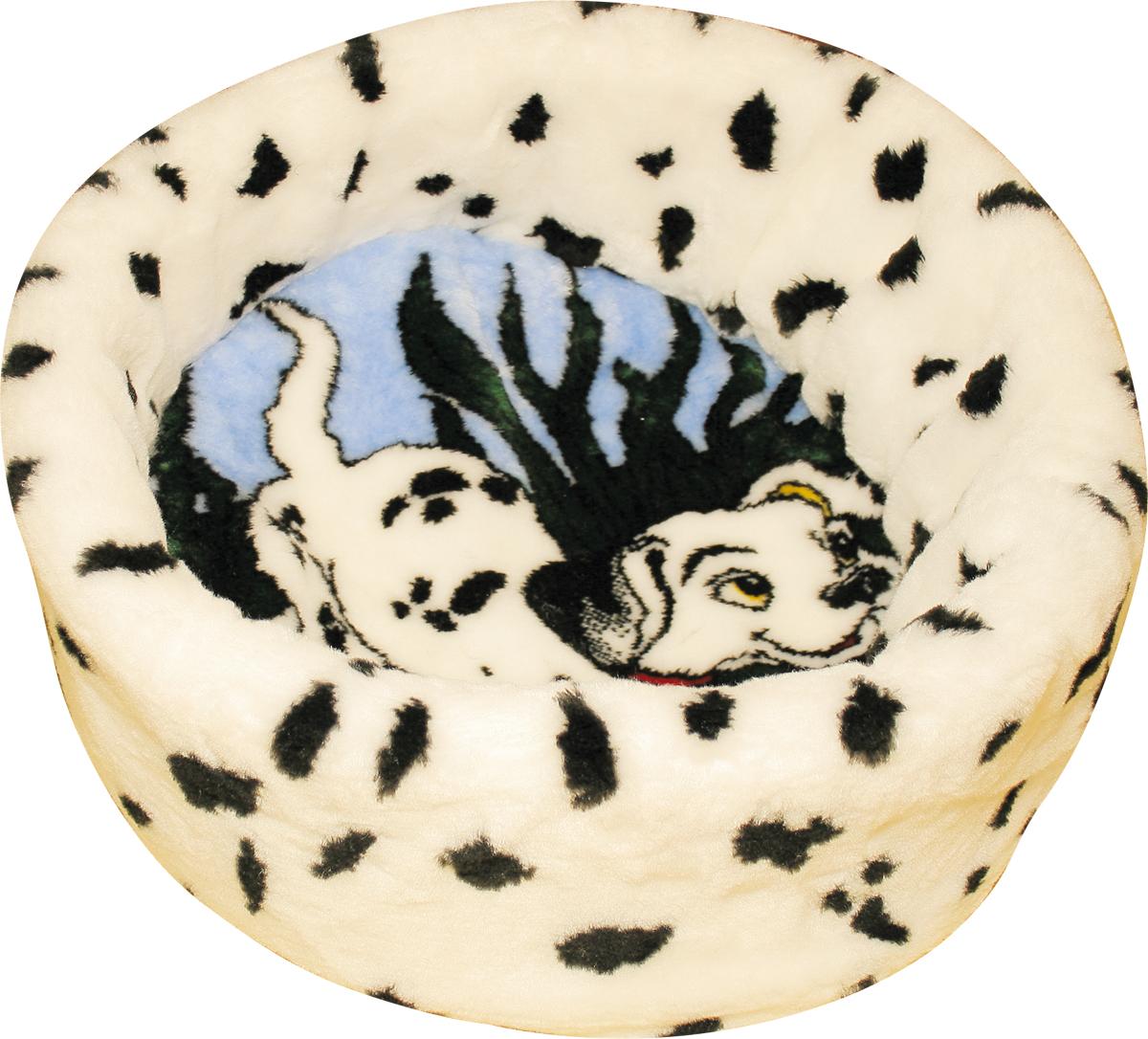 Лежак для животных Зооник Далматин, цвет: белый, черный, голубой, 47 х 47 х 17 см наполнитель зооник древесный 5л 06234