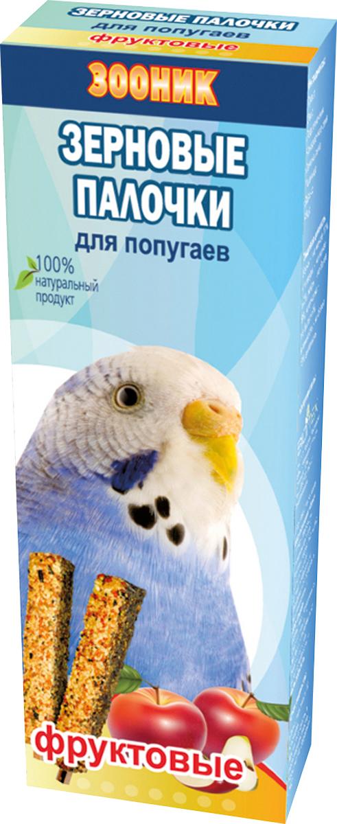 Палочки зерновые Зооник, для волнистых попугаев, фруктовые, 2 шт0120710Зерновые палочки Зооник — изготовлены из натуральных компонентов, скрепленных на яичной основе вокруг съедобной деревянной палочки. Входящие в состав фрукты являются дополнительным источником натуральных витаминов.Лакомство является прекрасным и вкусным дополнением к основному рациону вашего питомца.Состав: просо, овес, подсолнечник, канареечное семя, семена льна, пшеница, яблоко, яйцо.Товар сертифицирован.