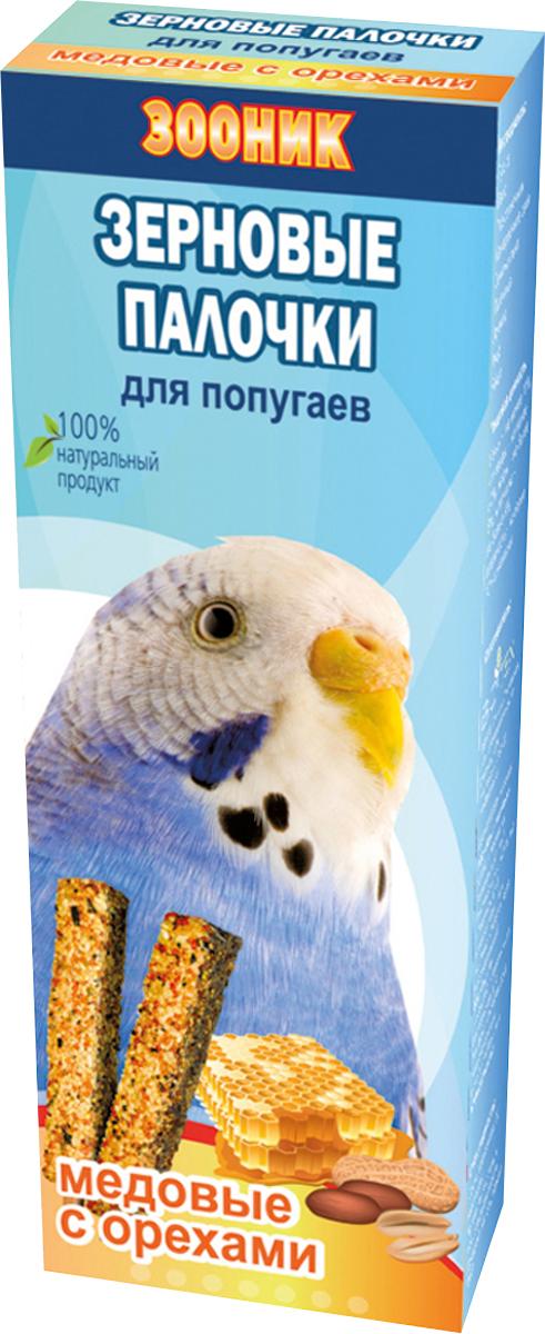 Палочки зерновые Зооник, для волнистых попугаев, медовые с орехами, 2 шт0120710Зерновые палочки Зооник — изготовлены из натуральных компонентов, скрепленных на яичной основе вокруг съедобной деревянной палочки. Входящие в состав орехи являются дополнительным источником натуральных питательных элементов.Лакомство является прекрасным и вкусным дополнением к основному рациону вашего питомца.Состав: просо, овес, подсолнечник, канареечное семя, семена льна, пшеница, арахис, мед, яйцо.Товар сертифицирован.