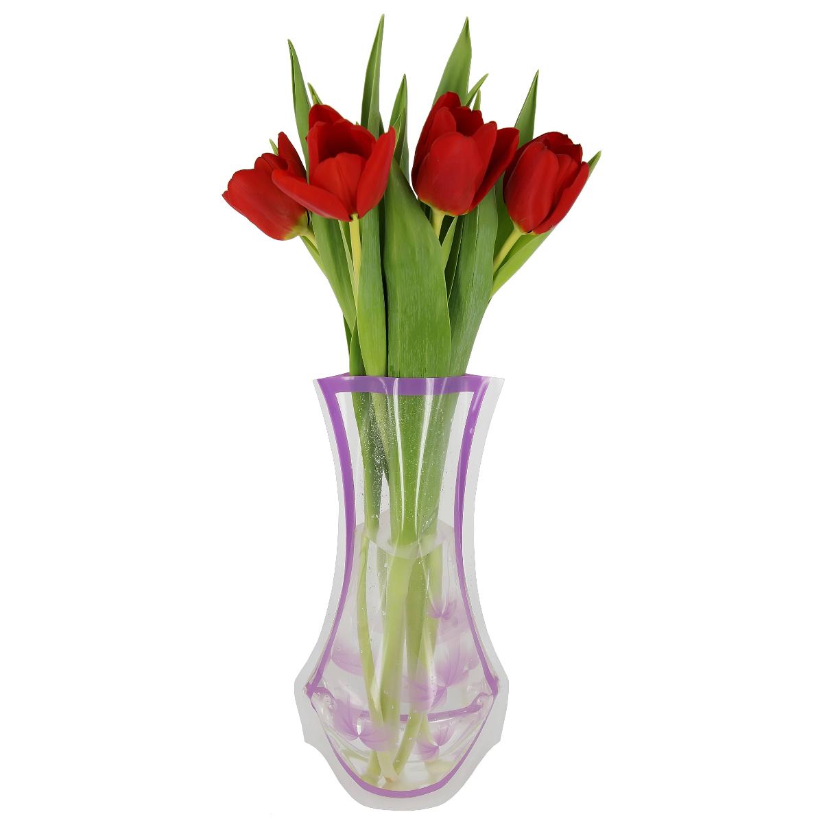 Ваза МастерПроф Фиолетовые лепестки, пластичная, 1,2 лFS-80423Пластичная ваза Фиолетовые лепестки легко складывается, удобно хранится - занимает мало места, долго служит. Всегда пригодится дома, в офисе, на даче, для оформления различных мероприятий. Отлично подойдет для перевозки цветов, или просто в подарок.Инструкция: 1. Наполните вазу теплой водой;2. Дно и стенки расправятся;3. Вылейте воду;4. Наполните вазу холодной водой;5. Вставьте цветы.Меры предосторожности:Хранить вдали от источников тепла и яркого солнечного света. С осторожностью применять для растений с длинными стеблями и с крупными соцветиями, что бы избежать опрокидывания вазы.
