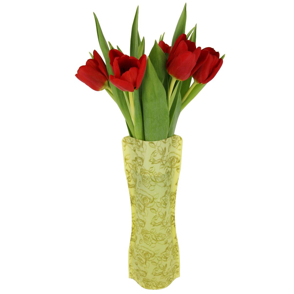 Ваза МастерПроф Золотые розы, пластичная, 1 л54 009312Пластичная ваза Золотые розы легко складывается, удобно хранится - занимает мало места, долго служит. Всегда пригодится дома, в офисе, на даче, для оформления различных меропритятий. Отлично подойдет для перевозки цветов, или просто в подарок.Инструкция: 1. Наполните вазу теплой водой;2. Дно и стенки расправятся;3. Вылейте воду;4. Наполните вазу холодной водой;5. Вставьте цветы.Меры предосторожности:Хранить вдали от источников тепла и яркого солнечного света. С осторожностью применять для растений с длинными стеблями и с крупными соцветиями, что бы избежать опрокидывания вазы.