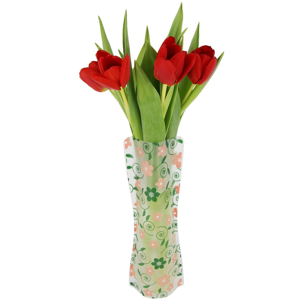 Ваза МастерПроф Летний узор, пластичная, 1 лFS-80423Пластичная ваза Летний узор легко складывается, удобно хранится - занимает мало места, долго служит. Всегда пригодится дома, в офисе, на даче, для оформления различных мероприятий. Отлично подойдет для перевозки цветов, или просто в подарок.Инструкция: 1. Наполните вазу теплой водой;2. Дно и стенки расправятся;3. Вылейте воду;4. Наполните вазу холодной водой;5. Вставьте цветы.Меры предосторожности:Хранить вдали от источников тепла и яркого солнечного света. С осторожностью применять для растений с длинными стеблями и с крупными соцветиями, что бы избежать опрокидывания вазы.