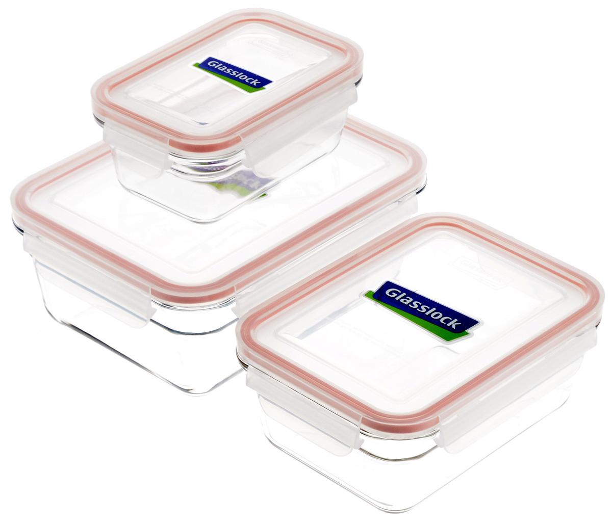 Набор контейнеров для запекания Glasslock, цвет: прозрачный, оранжевый, 3 шт. GL-529SC-FD421004Набор Glasslock состоит из трех контейнеров разного объема. Контейнеры выполнены из высококачественного закаленного стекла и оснащены герметичными крышками с уплотнительными резинками, они надежно закрываются с помощью защелок. Изделия предназначены для приготовления пищи в микроволновой печи и духовом шкафу без пластиковой крышки (+230°С). Контейнеры прозрачные, что позволяет видеть содержимое, это очень удобно и практично. Они также подходят для хранения продуктовв холодильнике и морозильной камере. Такой набор подходит для повседневного использования. Также в нем можно приготовить салаты или запекать любимые блюда. Приятный дизайн подойдет практически для любого случая. Можно мыть в посудомоечной машине. Не использовать в духовке и микроволновой печи с крышкой.Объем: 485 мл; 970 мл; 1730 мл.Размер контейнеров (с учетом крышек): 15,5 х 10,5 х 6,5 см; 18,5 х 14 х 7,5 см; 21,5 х 16,5 х 8,5 см.