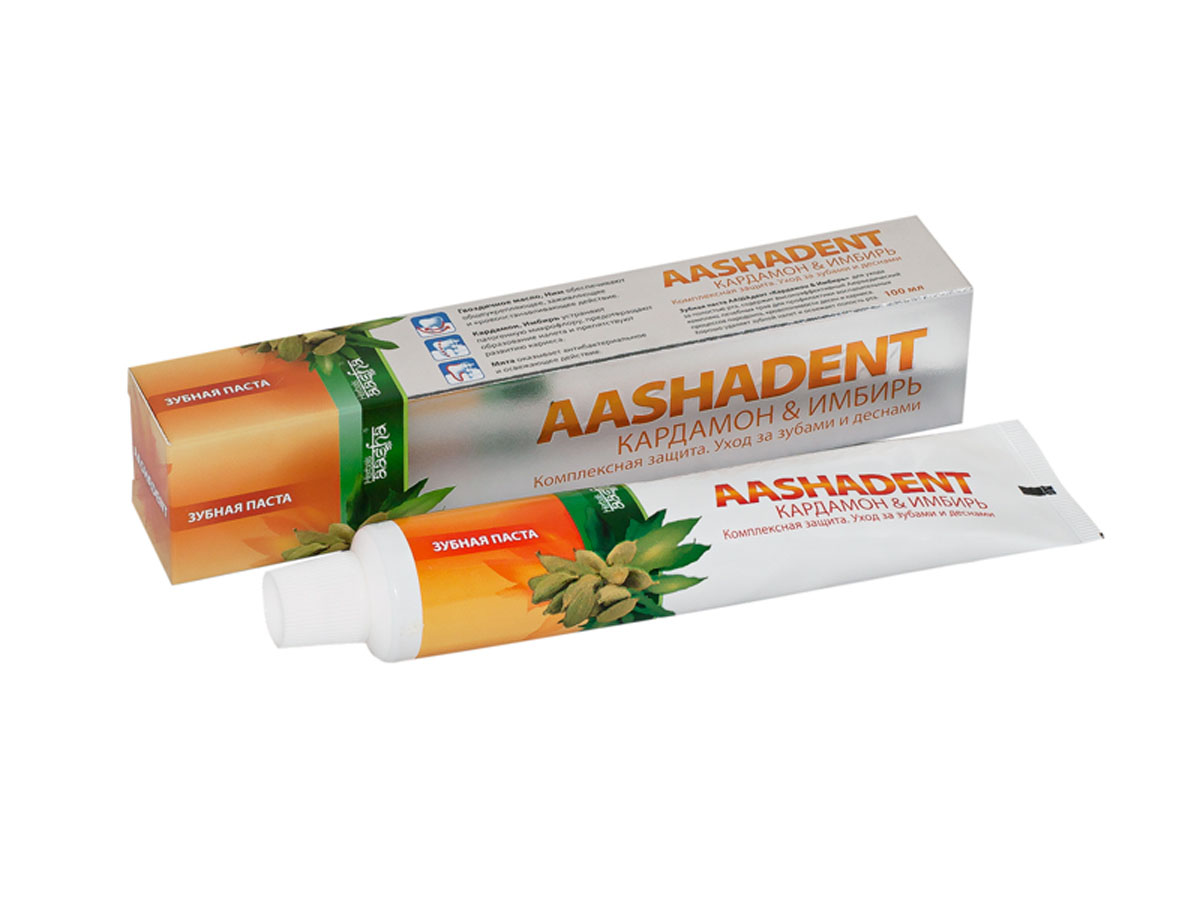 Aashadent Зубная паста Кардамон и Имбирь, 100 мл8809296112525Эффективно останавливает и лечит кровоточивость десен, укрепляет их.