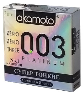 Okamоto Презервативы 0.03 Platinum, супер тонкие, 3 штSC-FM20104Прозрачные презервативы Okamato 0.03 Platinum цилиндрической формы с накопителем и силиконовой смазкой изготовлены из натурального высококачественного японского латекса. Самые тонкие и прочные латексные презервативы в мире. Обеспечивают максимальный уровень чувствительности. Проверены с использованием электростатической технологии для максимальной надежности. Характеристики:Материал презерватива: латекс. Количество презервативов: 3. Длина презерватива: 180 ± 7 мм. Ширина презерватива: 52 ± 2 мм. Толщина презерватива: 0.03 ± 0.01 мм. Производитель: Япония. Товар сертифицирован.