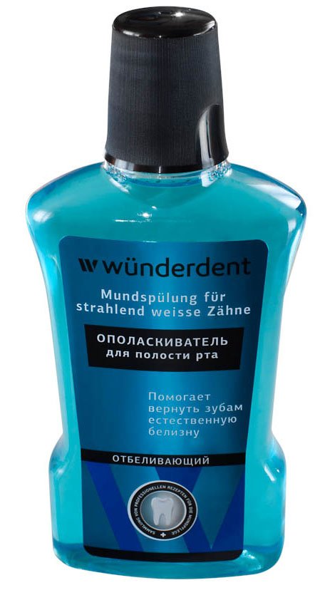 Wunderdent Ополаскиватель для полости рта отбеливающий, 295 млDB4010(DB4.510)/голубой/розовыйОполаскиватель для полости рта WUnderdent Отбеливающий - это лечебно-профилактическое средство для дополнительного ухода за полостью рта. Входящие в состав ополаскивателя активные ингредиенты помогут :- вернуть вашим зубам естественную белизну- очистить труднодоступные участки полости рта- cнизить скорость образования зубного налета- предотвратить окрашивание зубов- освежить дыхание.Активные ингредиенты: Poloxamer 407 способствует отторжению зубного налета с поверхности зубной эмали; натриевая соль лимонной кислоты помогает растворить пигментированный зубной налет, препятствует окрашиванию зубов; эфирное тимоловое масло оказывает противовоспалительное, антисептическое и ранозаживляющее действие; винтергриновое масло обладает вяжущим действием, способствует заживлению ранок и микротрещин в полости рта.