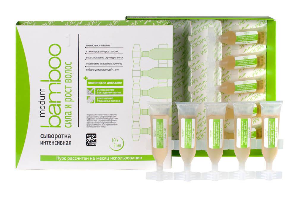 Modum Bamboo Сыворотка интенсивная Сила и Рост волос, 10 шт х 5 мл12699Специальная сбалансировованная формула сыворотки оказывает комплексное благотворное воздействие на корни волос, усиливая кровоснабжение, улучшая питание луковиц, продлевая фазу активного роста волос, уменьшая выпадение, усиливая рост волос, улучшая структуру кутикулярного слоя. -Интенсивное питание-Стимулирование роста волос-Восстановление структуры волос-Укрепление волосяных луковиц-Себорегулирующее действие