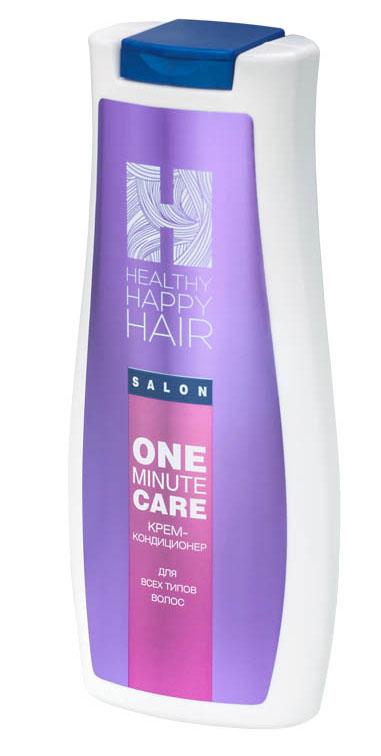 Healthy Happy Hair Крем-кондиционер для волос One minute care, 240 г6018001567Легкий, смываемый кремовый кондиционер мгновенного действия. Придает волосам выраженный блеск, гладкость, послушность в укладке. При регулярном использовании укрепляет структуру волос, повышает увлажненность, помогает дольше сохранять цвет волос между окрашиваниями.Без силиконов. Для всех типов волос.Prodew 500 - комплекс из одиннадцати аминокислот (аналогичный аминокислотному составу клеточно-мембранного комплекса человеческого волоса), увлажняет, укрепляет структуру волос, ремонтирует поверхностные повреждения, препятствует вымыванию пигмента из стержня волоса.KeraDynтм HH - инновационная формула для восстановления внешнего липидного слоя стержня волоса. Улучшает внешний вид и структуру поврежденных, окрашенных волос, придает им динамические характеристики здоровых волос.