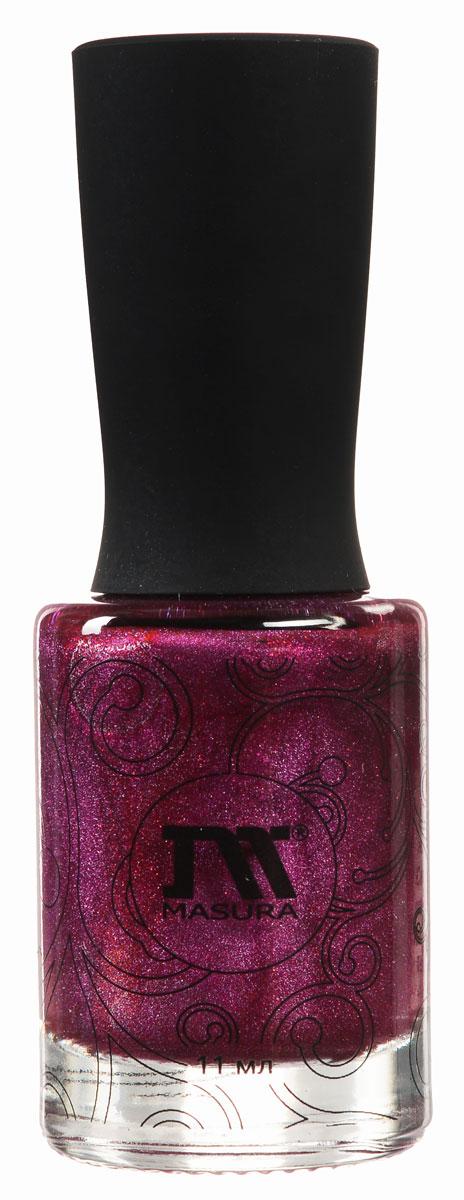Masura Лак для ногтей Драгоценные камни Шелковая Дымка, 11 мл80284338Лак роскошного красного цвета с малиновым подтоном и плотным красным мерцанием