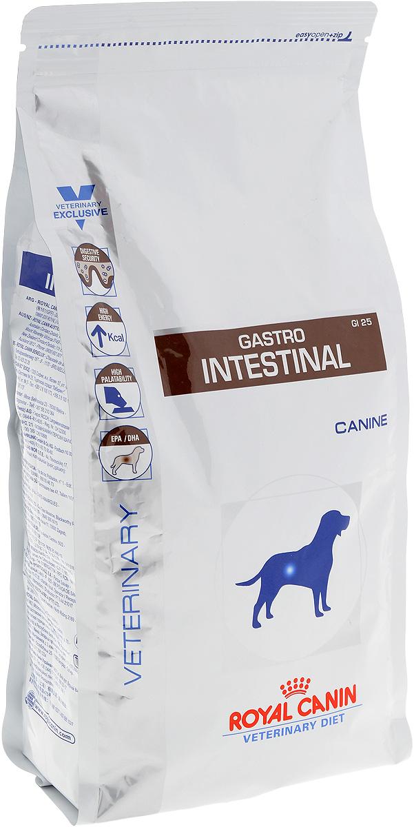 Корм сухой диетический Royal Canin Gastro Intestinal GI25 для собак, при нарушениях пищеварения, 2 кг23559Сухой корм для собак Royal Canin Gastro Intestinal GI25 - полноценный диетический рацион, рекомендуемый для собак в период лактации, при острых расстройствах пищеварения, в период выздоровления и при истощении. Показания к применению:Острая и хроническая диареяХроническое воспаление кишечникаПлохая переваримость и абсорбция питательных веществВосстановительный период после болезниПролиферация бактерий в тонком кишечникеЭкзокринная недостаточность поджелудочной железыКолитГастритАнорексия.Противопоказания:Панкреатит (в том числе перенесенный ранее)ГиперлипидемияЛимфангиэктазияПеченочная энцефалопатияЗаболевания, при которых рекомендована низкокалорийная диета.Рекомендации по кормлению: - использовать теплую воду (50°C); - залить крокеты небольшим количеством воды;- подождать 10-15 минут, чтобы крокеты приобрели нужную для потребления структуру и температуру.Состав: Рис, дегидратированное мясо птицы, животные жиры, кукуруза, гидролизат белков животного происхождения, дрожжи, яичный порошок, свекольный жом, соевое масло, минеральные вещества, растительная клетчатка, рыбий жир, фруктоолигосахариды (ФОС), оболочка и семена подорожника, гидролизат дрожжей (источник маннановых олигосахаридов), экстракт бархатцев прямостоячих (источник лютеина). Добавки (на 1 кг): Витамин А: 11400 МЕ, Витамин D3: 1000 МЕ, Железо: 42 мг, Йод: 3,3 мг, Медь: 8 мг, Марганец: 55 мг, Цинк: 181 мг, Селен: 0,08 мг.Товар сертифицирован.