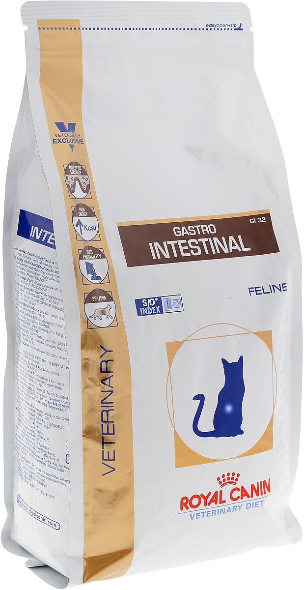 Корм сухой диетический Royal Canin Gastro Intestinal GL32 для кошек, при нарушениях пищеварения, 2 кг27303Royal Canin Gastro Intestinal GL32 - это полнорационный диетический корм для кошек, рекомендуемый при острых расстройствах пищеварения, в реабилитационный период и при истощении. Показания к применению:- острая и хроническая диарея;- плохая переваримость и абсорбция питательных веществ;- пролиферация бактерий в тонком кишечнике;- восстановительный период после болезни;- колит;- Заболевания печени (кроме печеночной энцефалопатии); - Анорексия; - гастрит.Противопоказания:- Печеночная энцефалопатия;- лимфангиэктазия - экссудативная энтеропатия;- панкреатит.Длительность курса применения. Для усиления регенераторной способности ворсинчатого эпителия стенки кишечника при остром воспалительном процессе рекомендуется диетотерапия с минимальным сроком три недели. При хронических заболеваниях может потребоваться назначение диетического корма на протяжении всей жизни животного. Для оптимальной работы пищеварительной системы необходимо соблюдение суточного рациона и увеличение его кратности. Безопасность пищеварительной системы. Сочетание высокоусвояемых белков, пребиотиков, клетчатки и рыбьего жира обеспечивает максимальную защиту пищеварительной системы. Умеренное содержание энергии.Повышенное содержание энергии соответствует энергетическим потребностям кошки, позволяет ограничить объем корма и снизить нагрузку на желудочно-кишечный тракт.Повышенная вкусовая привлекательность При нарушениях пищеварения часто наблюдаются плохой аппетит и потеря веса. Высокая вкусовая привлекательность стимулирует потребление корма и способствует выздоровлению. Длинноцепочечные жирные кислоты Омега 3 (эйкозапентаеновая и докозагексаеновая) уменьшают кожные реакции и обеспечивают целостность слизистой оболочки кишечника. Белки с высокой степенью усвояемости снижают интенсивность чрезмерной ферментации в толстом отделе кишечника. Маннановые олигосахариды (МОС) стимулируют местный иммунитет в 