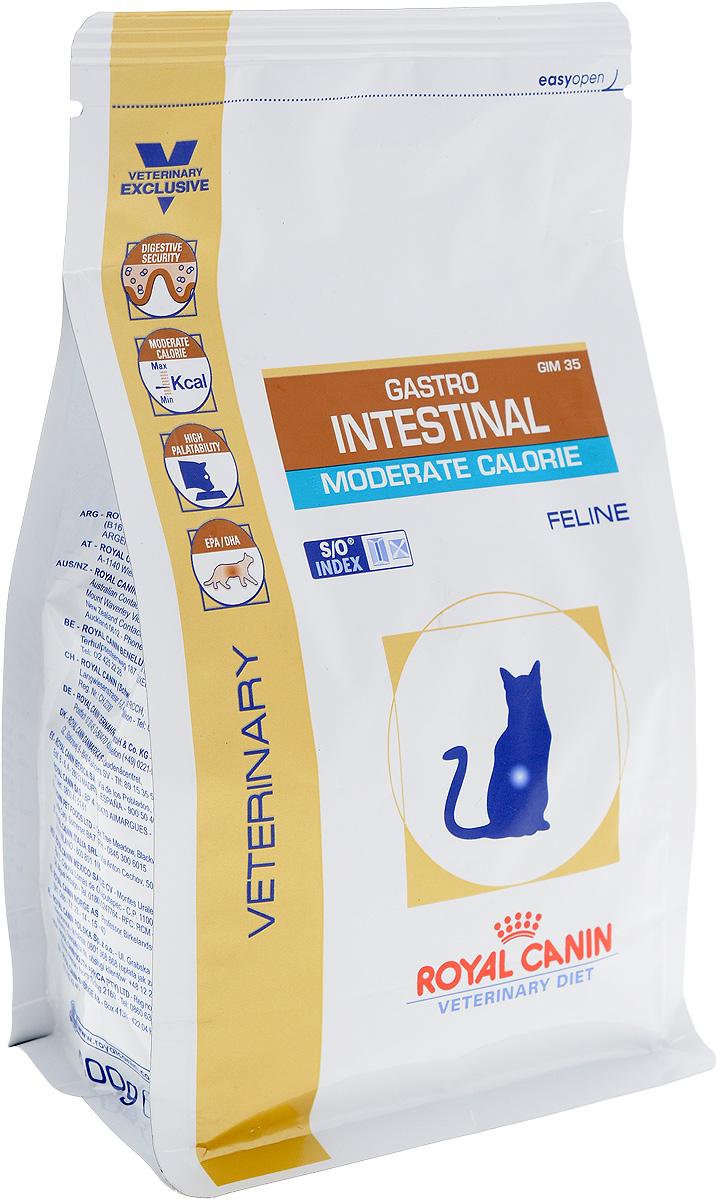 Корм сухой диетический Royal Canin Gastro Intestinal. Moderate Calorie для кошек, при нарушениях пищеварения, c пониженным содержанием жира, 400 г0120710Royal Canin Gastro Intestinal. Moderate Calorie - это полнорационный диетический корм для кошек с пониженным содержанием жира, рекомендуемый при острых расстройствах пищеварения. Показания к применению:- острая и хроническая диарея;- плохая переваримость и абсорбция питательных веществ;- пролиферация бактерий в тонком кишечнике;- Хроническое воспаление кишечника;- колит;- Заболевания печени (кроме печеночной энцефалопатии); - Панкреатит; - Экссудативная энтеропатия; - гастрит.Длительность курса применения. Для усиления регенераторной способности ворсинчатого эпителия стенки кишечника при остром воспалительном процессе рекомендуется диетотерапия с минимальным сроком три недели. При хронических заболеваниях может потребоваться назначение диетического корма на протяжении всей жизни животного. Для оптимальной работы пищеварительной системы необходимо соблюдение суточного рациона и увеличение его кратности. Безопасность пищеварительной системы. Сочетание высококачественных белков с высокой степенью усвояемости (L.I.P. белки), пребиотиков (фруктоолигосахариды и маннановые олигосахариды), свекольного жома, риса и рыбьего жира обеспечивает максимальную безопасность пищеварения.Умеренное содержание энергии. Умеренное содержание энергии в диете рекомендовано не только при панкреатите, но также помогает контролировать массу тела у кастрированных или склонных к избыточному весу животных.Повышенная вкусовая привлекательность. При нарушениях пищеварения часто наблюдаются плохой аппетит и потеря веса. Высокая вкусовая привлекательность стимулирует потребление корма и способствует выздоровлению. Эйкозапентаеновая и докозагексаеновая кислоты, длинноцепочечные жирные кислоты Омега 3 способствуют поддержанию здоровья пищеварительной системы.Эта диета способствует созданию в мочевыделительной системе среды, неблагоприятной для формиров