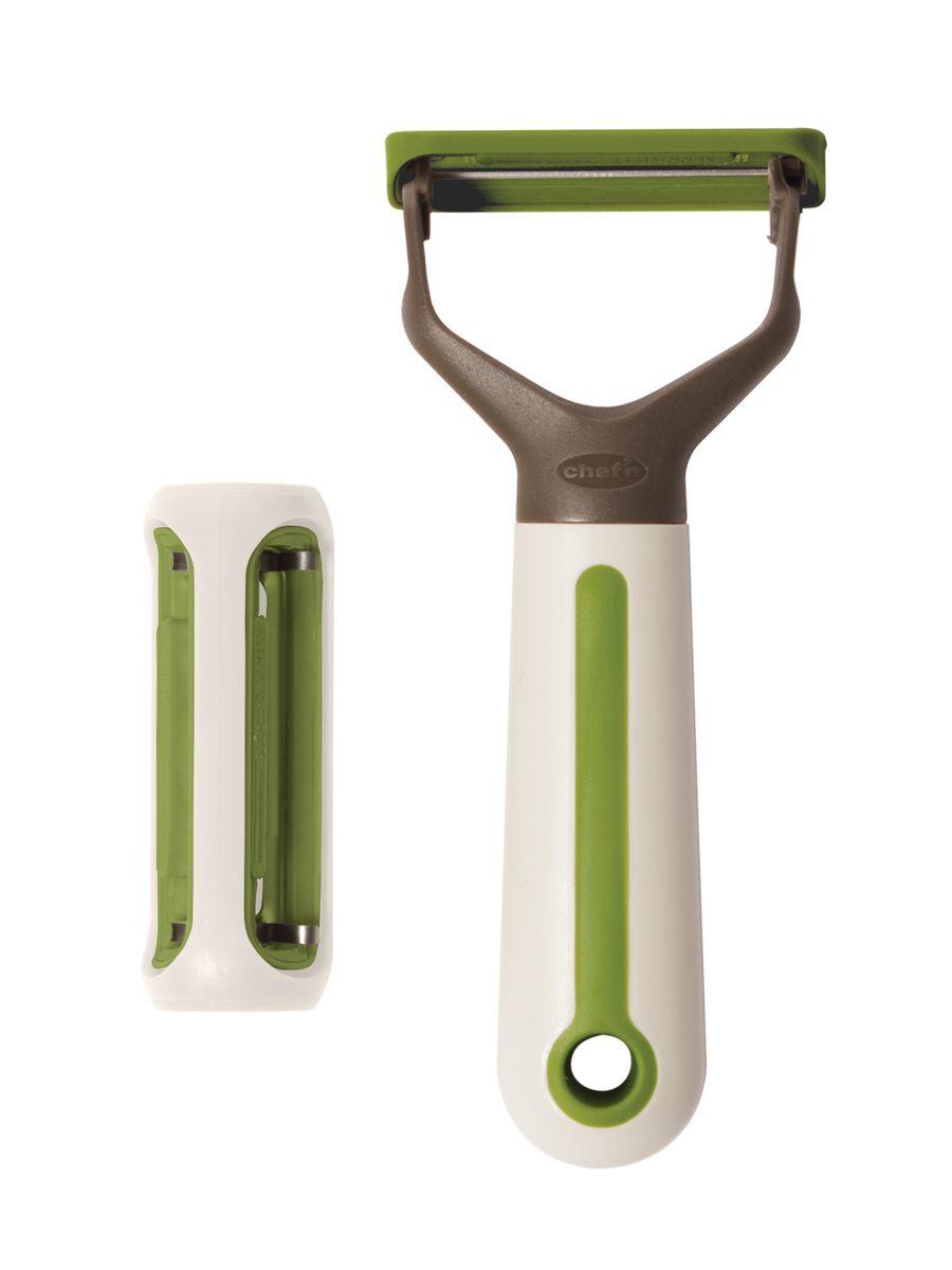 Овощечистка 3 в 1 Chefn103-465-120Овощечистка 3 в 1 Chefn имеет три насадки для разных видов овощей, что позволит быстро и комфортно подготовить овощи для приготовления. Удобная эргономичная ручка выполнена из прочного пластика. Можно мыть в посудомоечной машине.